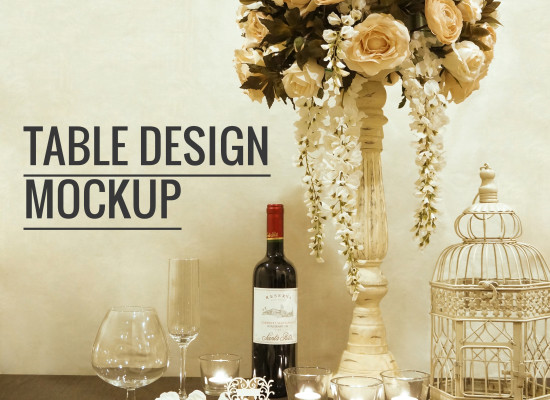 Wedding Reception Table Mockup in Cream